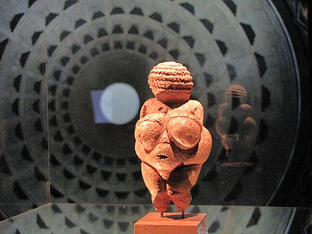Venus of Willendorf, 28,000 to 25,000 BC. Museum of Natural History Vienna 2011-07-09 gasometer 28.JPG