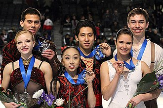 Sui Wenjing - Sui and Han at the 2011 Junior Grand Prix Final podium