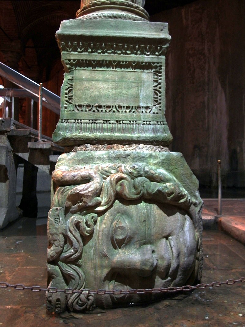 Basilica Cistern Medusa Head Column.