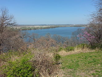 Creve Coeur Lake Memorial Park - A view of Creve Coeur Lake from atop the bluffs at the Albert P. Greensfelder memorial pavilion