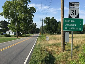 Virginia State Route 31 - View north along SR 31 in Surry