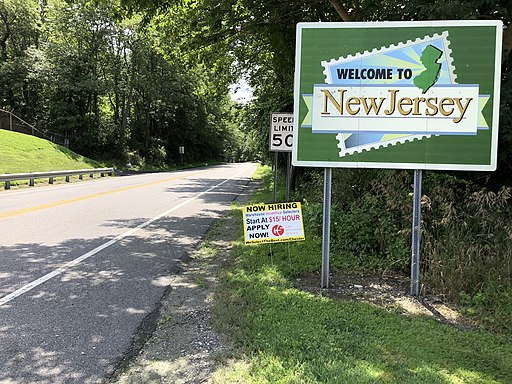 """2018-07-26 12 18 12 """"Welcome to New Jersey"""" sign along southbound New Jersey State Route 284 just after entering Wantage Township, Sussex County, New Jersey from Minisink, Orange County, New York"""