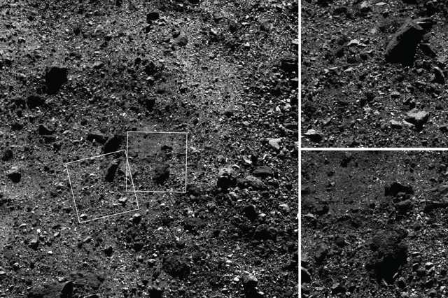 Wide angle shot of the Northern Hemisphere of Bennu, imaged by OSIRIS-REx at an altitude of approximately 1.1 mi (1.8 km). 2019-02-25 regolith image compilation.png