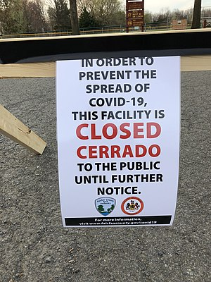 "2020-03-27 18 23 57 Sign reading ""In order to prevent the spread of COVID-19, this facility is CLOSED to the public until further notice"" at Franklin Farm Park in the Franklin Farm section of Oak Hill, Fairfax County, Virginia.jpg"