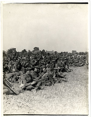 Charles Blackader - Men of the 2nd Leicestershire Regiment, Garhwal Brigade, resting in early September, during preparation for the Battle of Loos.