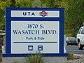 3900 S Wasatch Blvd Park & Ride street sign, Millcreek, Utah, Apr 16.jpg
