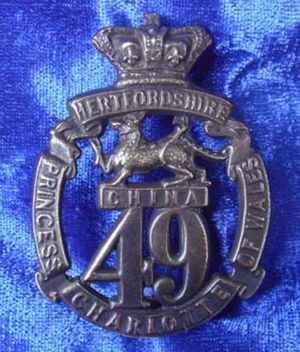49th (Princess Charlotte of Wales's) (Hertfordshire) Regiment of Foot - Cap badge of the 49th (Princess Charlotte of Wales's) (Hertfordshire) Regiment of Foot