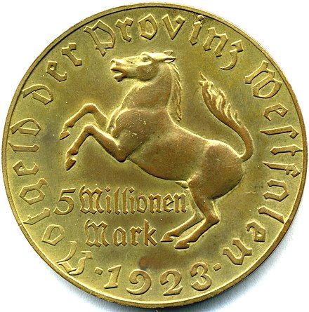 A 5 million mark coin, issued by the Province of Westphalia during the hyperinflation of 1923