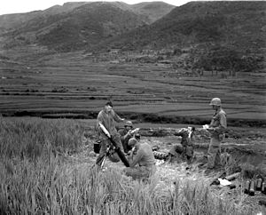 Battle of Battle Mountain - Image: 5th RCT Mortar at Masan
