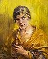 81 - Odette Labouysse buvant du maté - Luce Boyals - Crayon sur papier - Musée du Pays rabastinois inv.D.2004.5.172.jpg