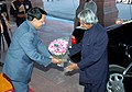 A.P.J. Abdul Kalam being received by the Union Minister for Information & Broadcasting and Parliamentary Affairs, Shri Priyaranjan Dasmunsi on the first day of the Budget Session at the Parliament House, in New Delhi.jpg