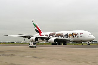 "Emirates (airline) - An Emirates Airbus A380-800 in the ""United for Wildlife"" livery (2016)"