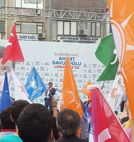 Davutoglu speaking at an AKP rally in Umraniye, Istanbul on 3 June 2015, ahead of the 2015 general election. AKP rally Umraniye 2015 (cropped).jpg