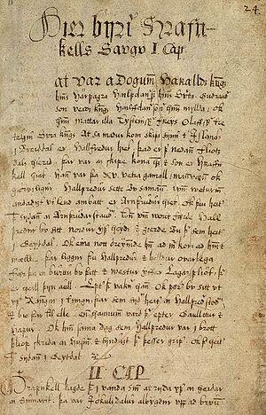 Hrafnkels saga - Image: AM156fol p 1