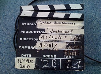 Clapperboard - Image: A Traditional Wooden Slate Clapperboard