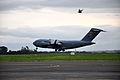 A U.S. Air Force C-17 Globemaster III aircraft prepares to land Nov. 11, 2013, during Kiwi Flag as part of Southern Katipo 2013 at Royal New Zealand Air Force Base Ohakea, New Zealand 131111-F-FB147-033.jpg