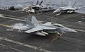A U.S. Navy F-A-18F Super Hornet aircraft assigned to Strike Fighter Squadron (VFA) 154 lands aboard the aircraft carrier USS Nimitz (CVN 68) in the Indian Ocean June 7, 2013 130607-N-TW634-459.jpg