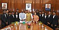 "A group of students of Government Ashram School, Chandrapur, Maharashtra who participated in the ""Mission Shaurya"" to scale the Mount Everest, calling on the Union Home Minister, Shri Rajnath Singh, in New Delhi (1).JPG"