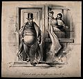 A portly, well-to-do physician leaves his house, while his w Wellcome V0011736.jpg