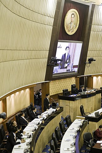 Parliament House of Thailand - Prime Minister Abhisit Vejjajiva answering questions in the chamber in 2009