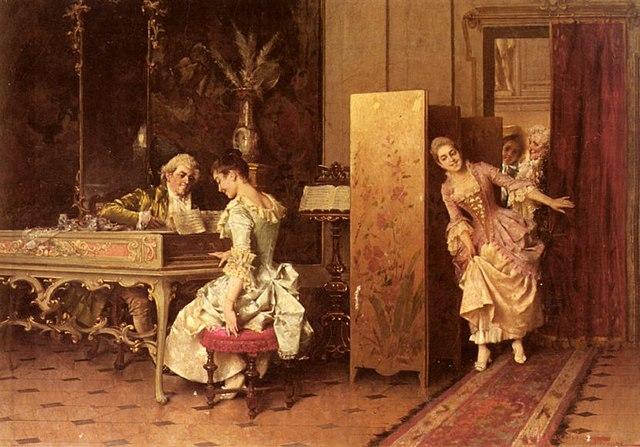 Rococo scene by Adriano Cecchi (1850-1936)