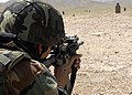 Afghan National Army 9th Kandak Storm Commandos 1st Company soldier fires his M-4 carbine on the Camp Zafar firing range (2).jpg