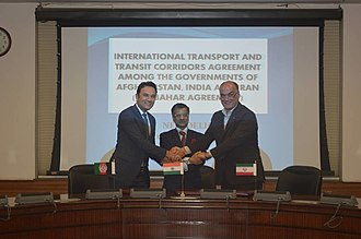 Afghanistan–India relations - Afghanistan, India and Iran signing the Chabahar Agreement