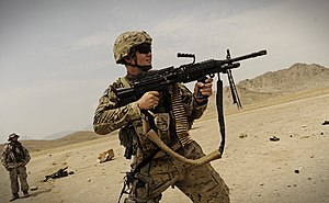 Mk 48 machine gun - US Air Force Staff Sergeant with the Mk 48 Mod 1 in Afghanistan, 2011.