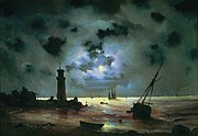 Aivazovsky - Sea coast at night. Near the beacon.jpg