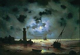 Aivazovsky - Sea coast at night. Near the beacon