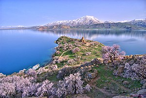 Lake Van - Akdamar Island and the Holy Cross Cathedral, a 10th-century Armenian church and monastic complex. Mount Artos (Mt. Çadır) is seen in the background.