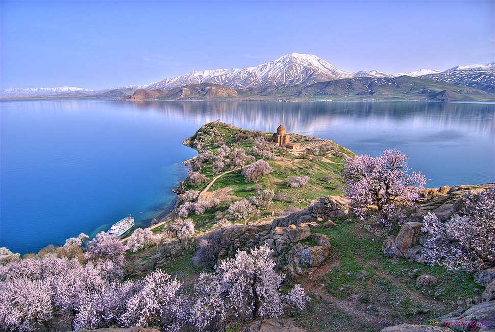 Akhtamar Island on Lake Van with the Armenian Cathedral of the Holy Cross
