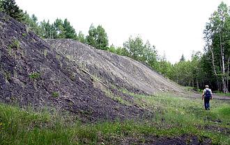 Alexo, Alberta - Coal waste piles at Alexo, Alberta.