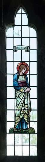 All Saints church, Preston Bagot - Simplicitas stained glass window 2016.jpg