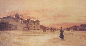 Piața Romană - Piaţa Romană, a 19th-century painting by Juan Alpar