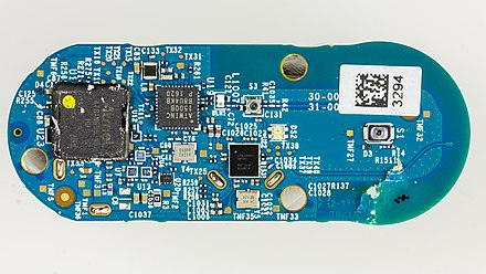 An Amazon Dash button with the cover removed and circuit board visible Amazon Dash Button Somat - board-2344.jpg