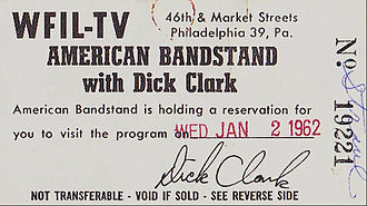 American Bandstand - Ticket for a broadcast in 1962, when the show was still in Philadelphia.