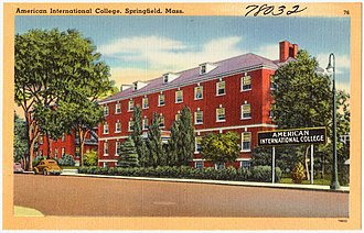 American International College - Historical postcard depicting Daughters of the American Revolution Hall located on the main campus