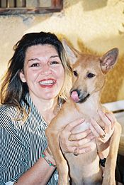 Amina Tharwat Abaza U2013 Animal Rights Activist. Founder Of Society For  Protection Of Animal Rights In Egypt Holding A Street Dog.
