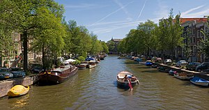 A panorama of 4 segments of an Amsterdam Canal...