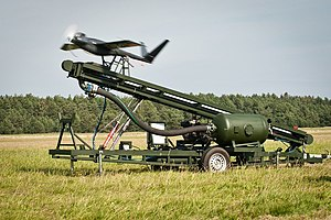 Unmanned aerial vehicle - UAV launch from an air-powered catapult