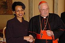 Sodano con il segretario di Stato americano Condoleezza Rice nel 2005