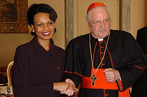 Angelo Sodano - The two Secretaries of State: Cardinal Sodano (Secretary of State of the Holy See) with Condoleezza Rice (Secretary of State of the U.S.).