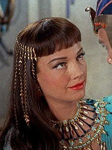 A photograph of Baxter as Nefretiri in a trailer for The Ten Commandments