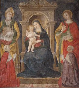 Antoniazzo Romano fresco - Madonna with child and saints.jpg
