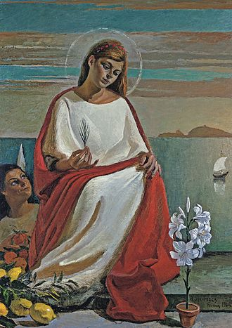 Saint Albina - Saint Albina, painting by Antonio Sicurezza. The palm-leaf in her hand is the attribute of the martyr in Christian iconography.