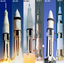 Composite image of unmanned development Apollo mission launches in chronological sequence.