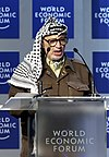 Yasser Arafat berpidato di World Economic Forum pada 2001