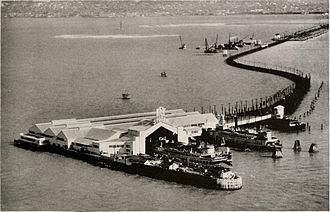Key System - The new ferry terminal on the Key System Mole in 1933. The old ferry terminal and the end of the mole had been destroyed by a fire and explosion earlier in the year.