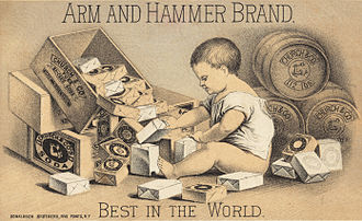 Arm & Hammer - Arm and Hammer trade card from the 1870s, showing the logo